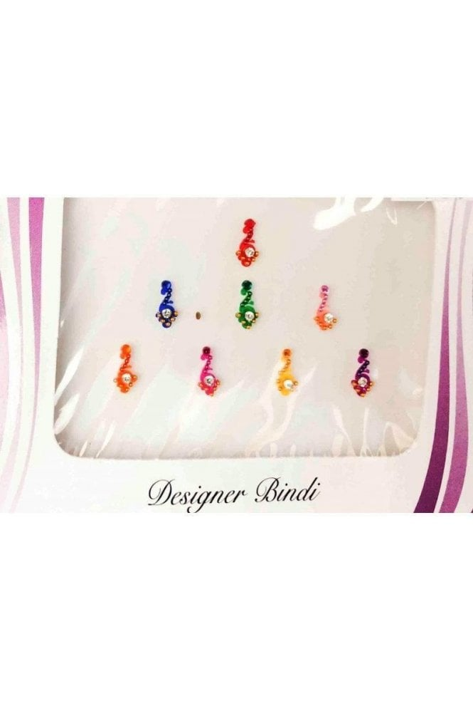 BIN586: Designer Pack of Multicoloured and Stone, Bead and Thread Bindi's / Tattoos