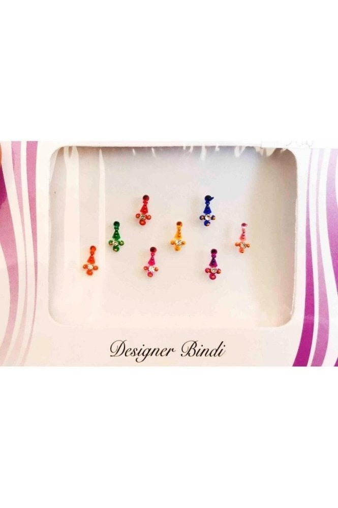 BIN588: Designer Pack of Multicoloured and Stone, Bead and Thread Bindi's / Tattoos