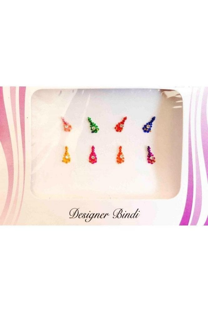 BIN589: Designer Pack of Multicoloured and Stone, Bead and Thread Bindi's / Tattoos