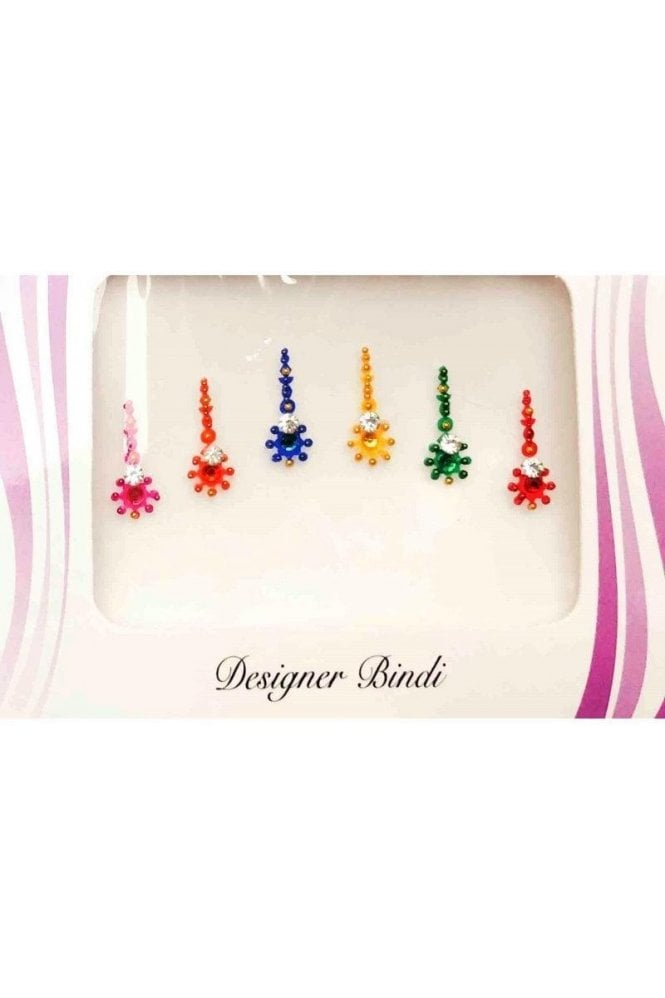BIN594: Designer Pack of Multicoloured and Stone, Bead and Thread Bindi's / Tattoos