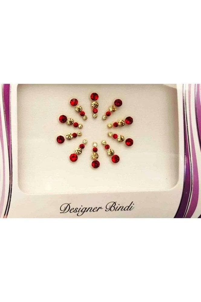 BIN605: Designer Pack of Red and Stone Bindi's / Tattoos