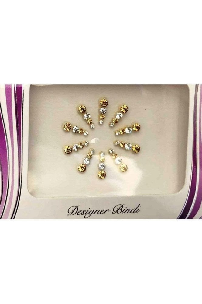 BIN608: Designer Pack of Silver & Gold and Stone Bindi's / Tattoos