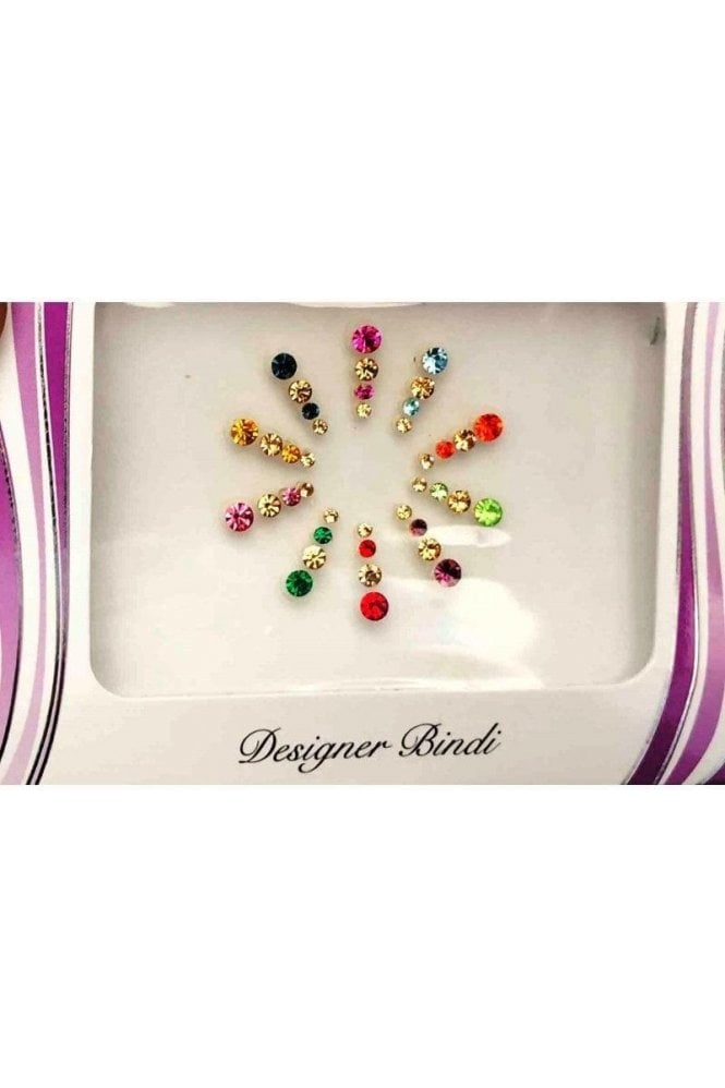 BIN609: Designer Pack of Multicoloured and Stone Bindi's / Tattoos
