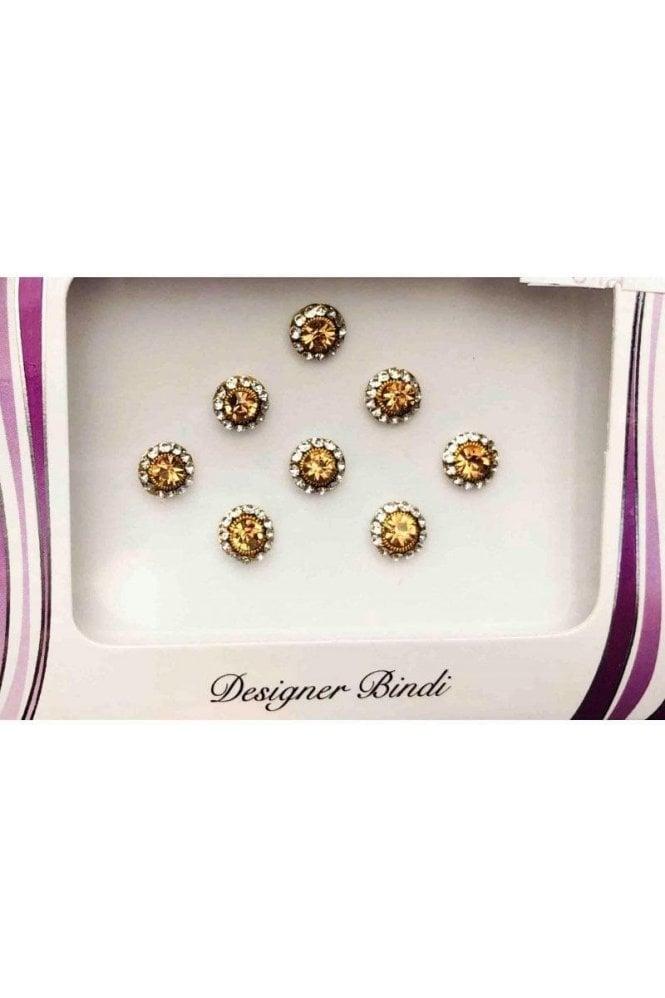 BIN611: Designer Pack of Gold and Stone Bindi's / Tattoos