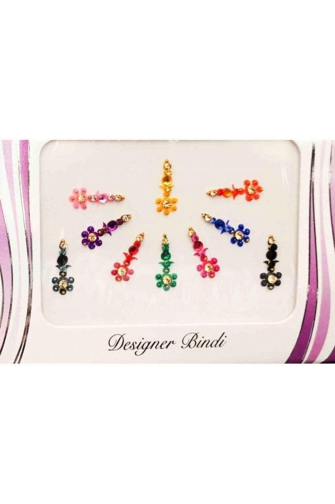 BIN620: Designer Pack of Multicoloured and Stone, Bead and Thread Bindi's / Tattoos