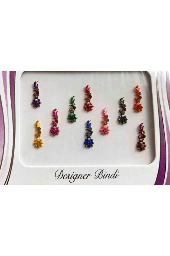 BIN623: Designer Pack of Multicoloured and Stone, Bead and Thread Bindi's / Tattoos