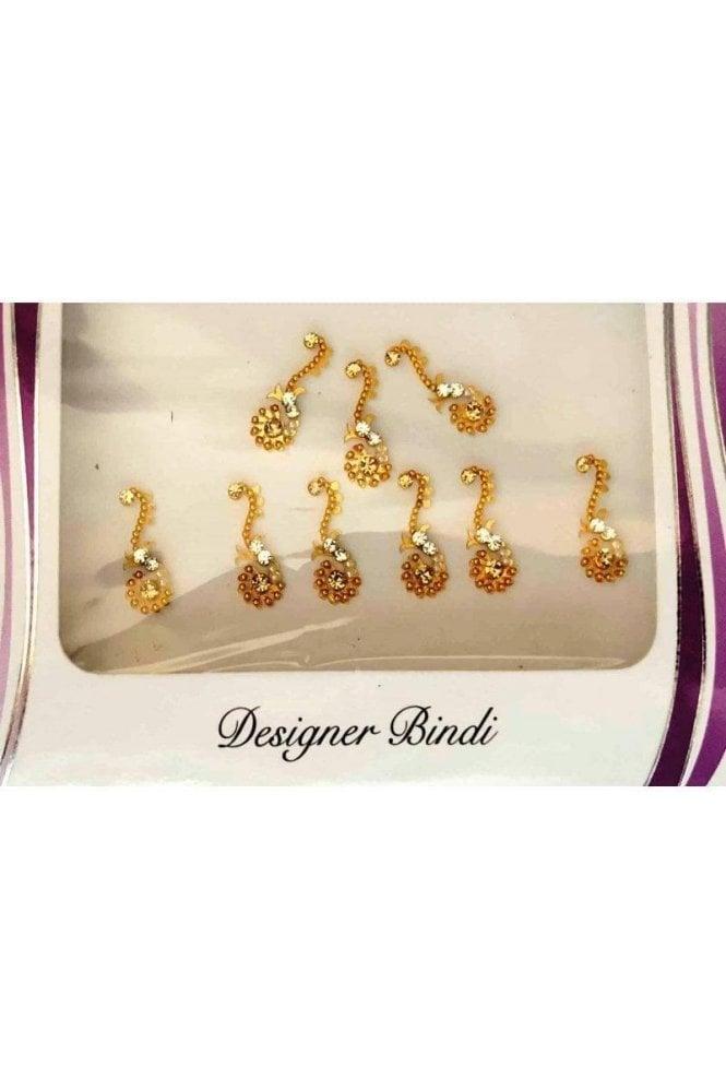 BIN625: Designer Pack of Gold and Stone, Bead and Thread Bindi's / Tattoos