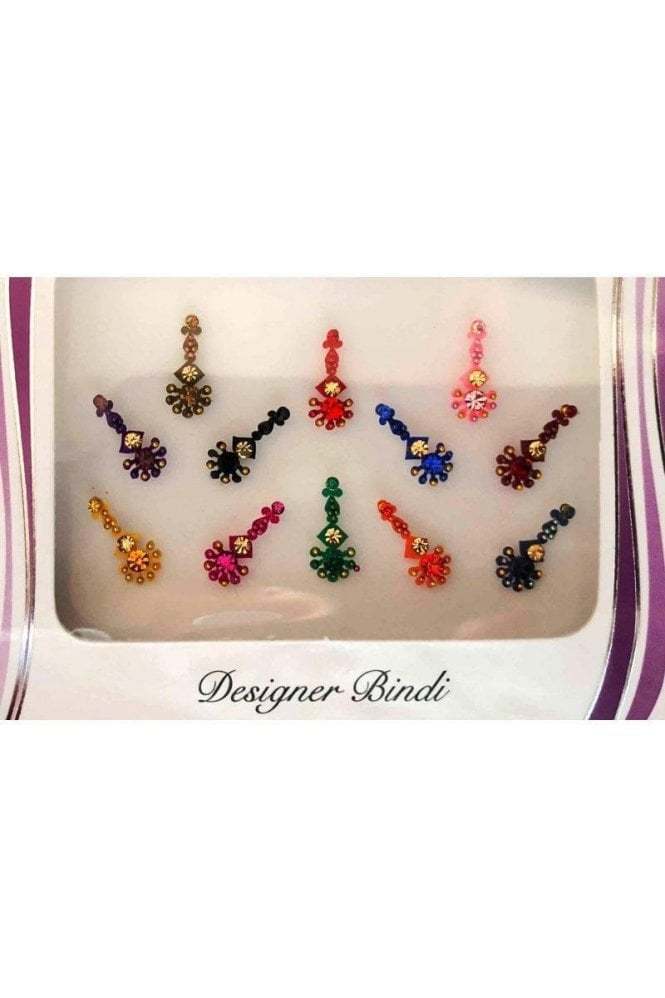 BIN626: Designer Pack of Multicoloured and Stone, Bead and Thread Bindi's / Tattoos