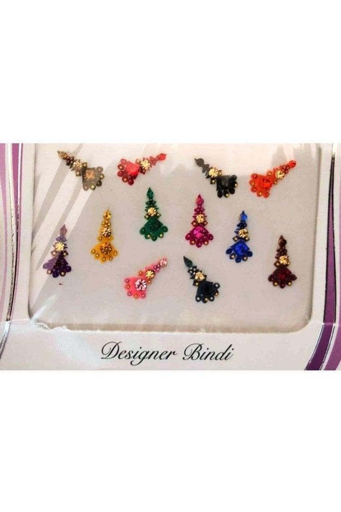 BIN631: Designer Pack of Multicoloured and Stone, Bead and Thread Bindi's / Tattoos