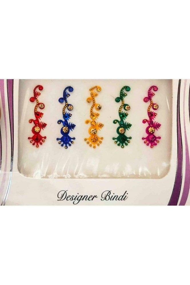 BIN633: Designer Pack of Multicoloured and Stone, Bead and Thread Bindi's / Tattoos