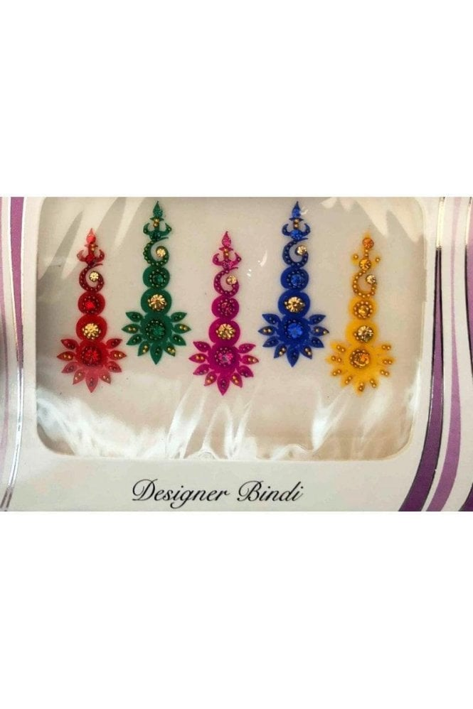 BIN634: Designer Pack of Multicoloured and Stone, Bead and Thread Bindi's / Tattoos