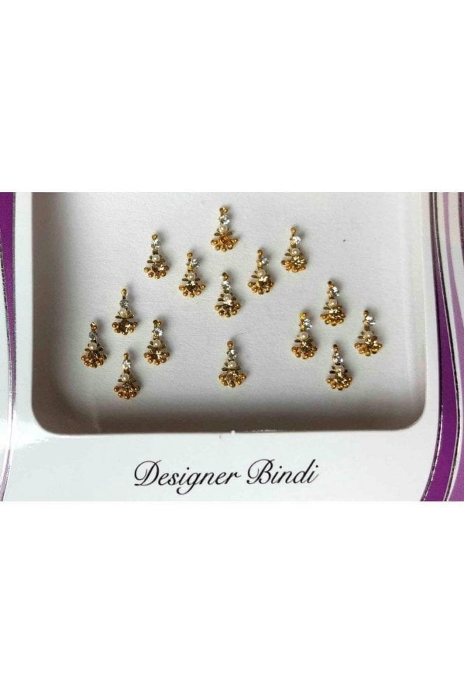 BIN656: Designer Pack of Gold and Stone, Bead and Thread Bindi's / Tattoos