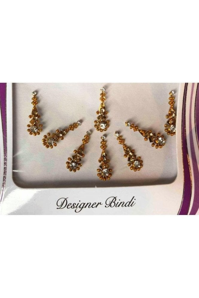 BIN657: Designer Pack of Gold and Stone, Bead and Thread Bindi's / Tattoos