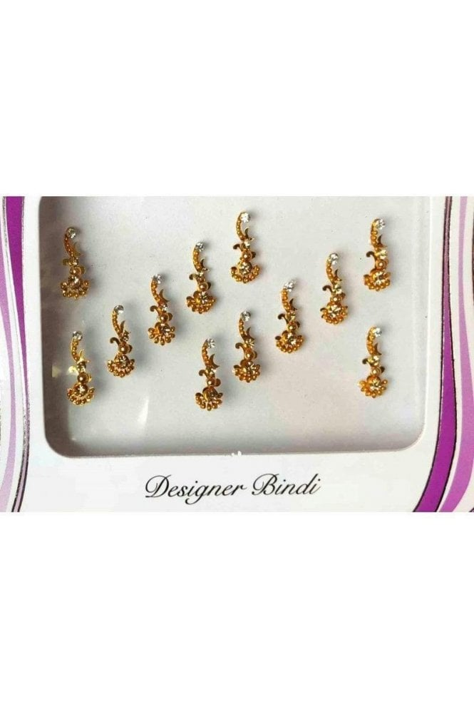 BIN661: Designer Pack of Gold and Stone, Bead and Thread Bindi's / Tattoos