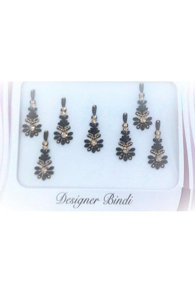 BIN856: Designer Pack of Black and Stone, Bead and Thread Bindi's / Tattoos