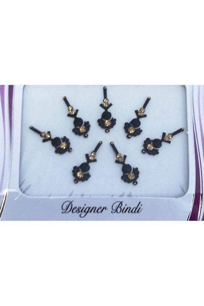 BIN857: Designer Pack of Black and Stone, Bead and Thread Bindi's / Tattoos