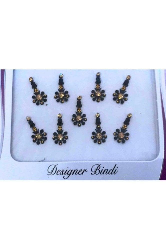 BIN859: Designer Pack of Black and Stone, Bead and Thread Bindi's / Tattoos