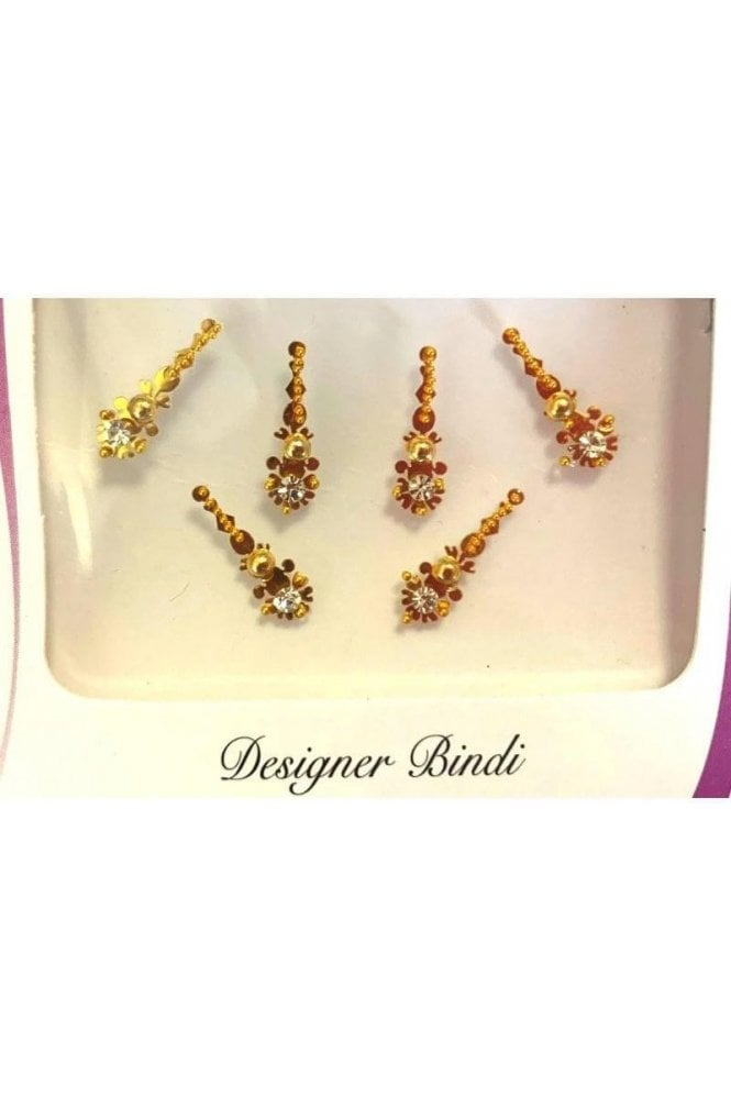 BIN869: Designer Pack of Gold and Stone, Bead and Thread Bindi's / Tattoos