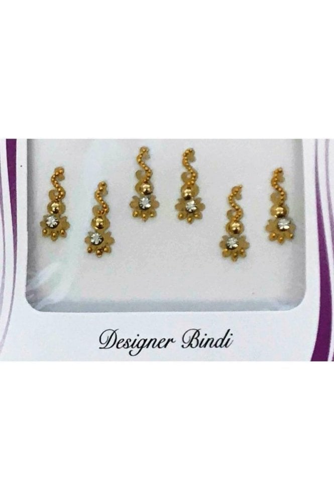 BIN878: Designer Pack of Gold and Stone, Bead and Thread Bindi's / Tattoos