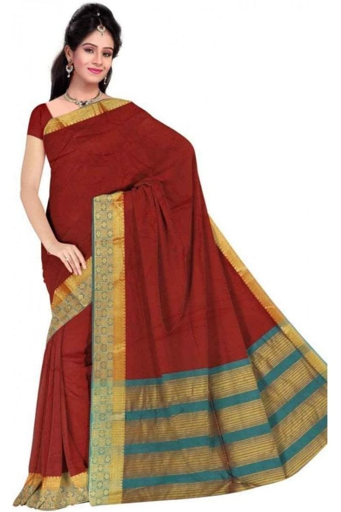 PCS19239  Maroon and Jade Green Poly Cotton Saree - With Unstitched Blouse Piece
