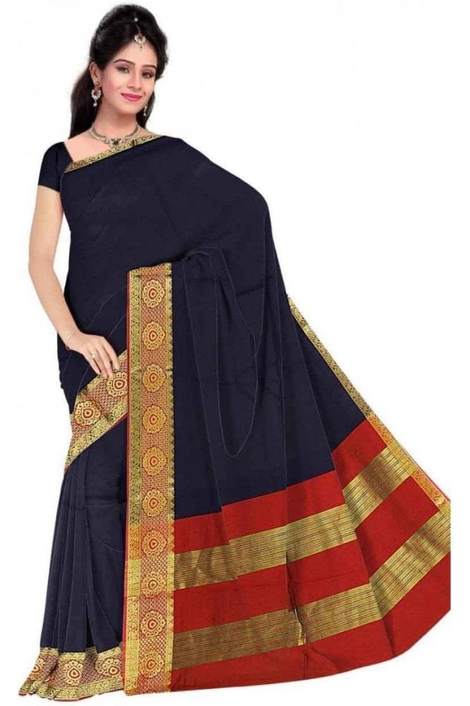 PCS19255  Navy Blue and Red Poly Cotton Saree - With Unstitched Blouse Piece