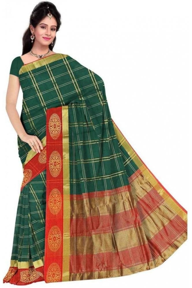 PCS19269  Green and Maroon Poly Cotton Saree - With Unstitched Blouse Piece