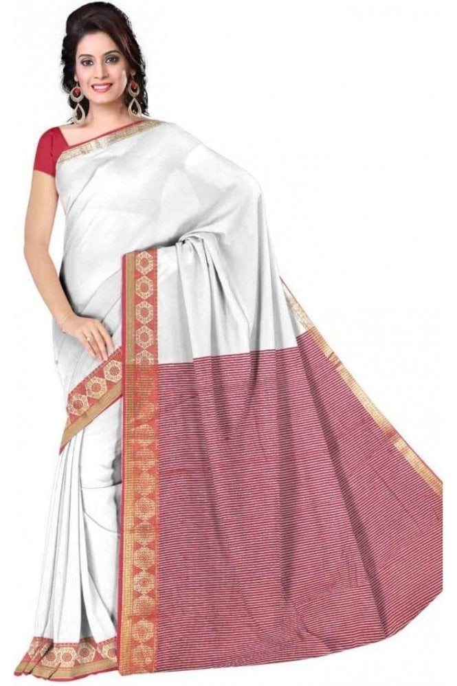 PCS19277  White and Red Poly Cotton Saree - With Unstitched Blouse Piece