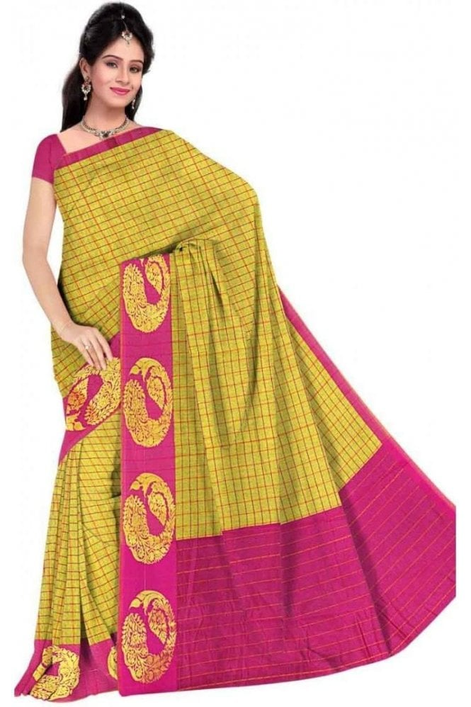 PCS19279  Green and Pink Poly Cotton Saree - With Unstitched Blouse Piece