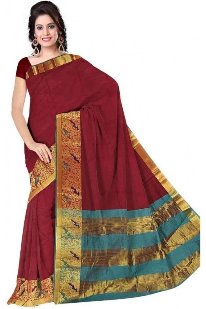 PCS19287  Maroon and Jade Green Poly Cotton Saree - With Unstitched Blouse Piece