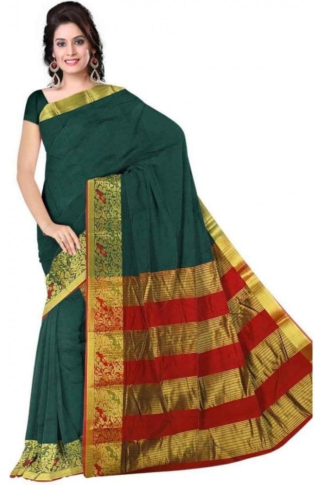 PCS19288  Green and Red Poly Cotton Saree - With Unstitched Blouse Piece