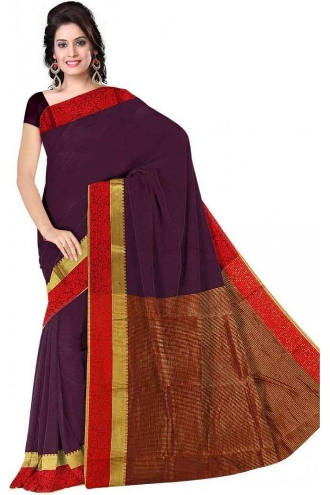 PCS19295  Purple and Red Poly Cotton Saree - With Unstitched Blouse Piece