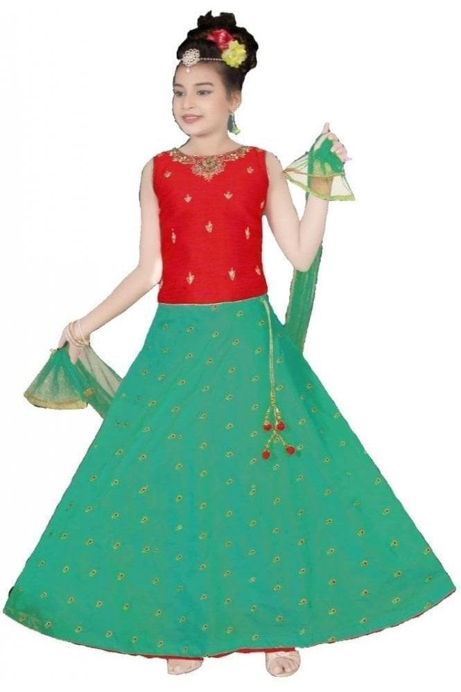 GLC19095 Red and Green Girl's Lengha Choli