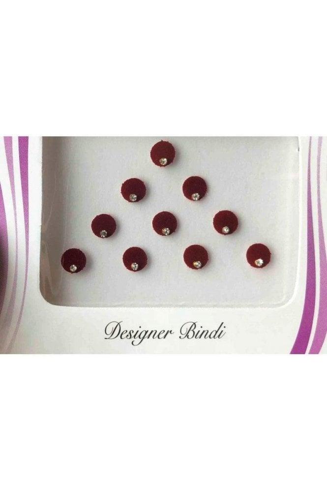 BIN508: Designer Pack of Maroon and Stone Bindi's / Tattoos