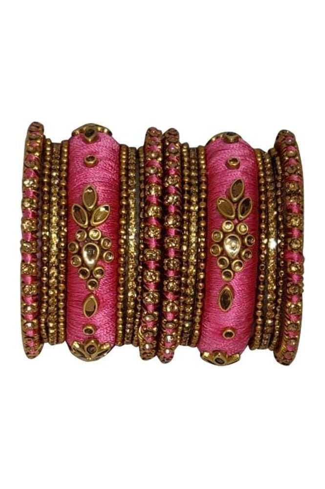 BAK1064-03 Pink and Golden Set of 18 Thread and Stone Girl's Bangles