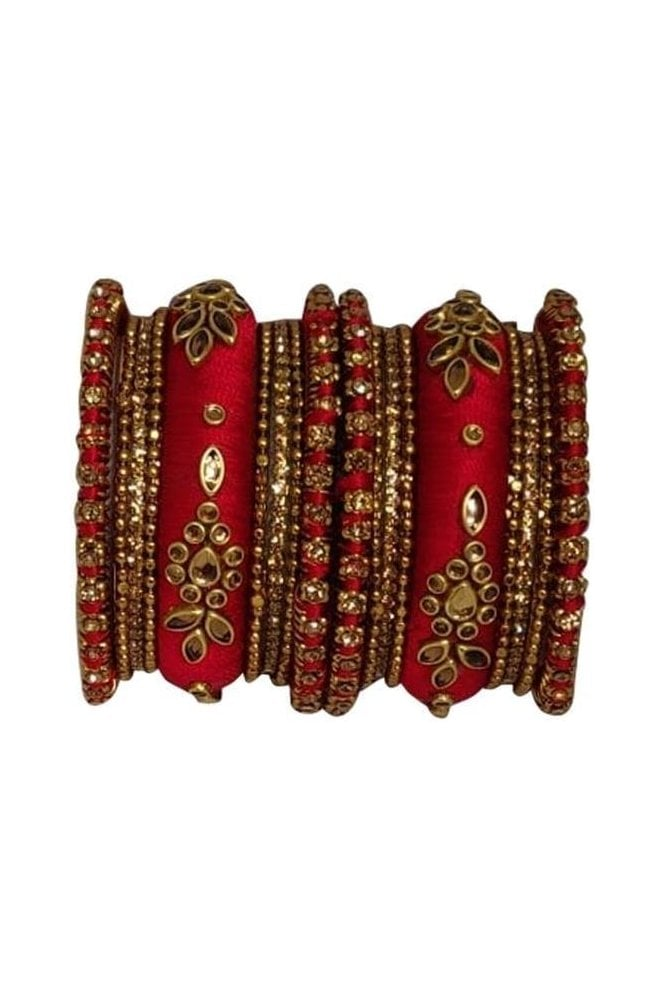 BAK1064-10 Red and Golden Set of 18 Thread and Stone Girl's Bangles