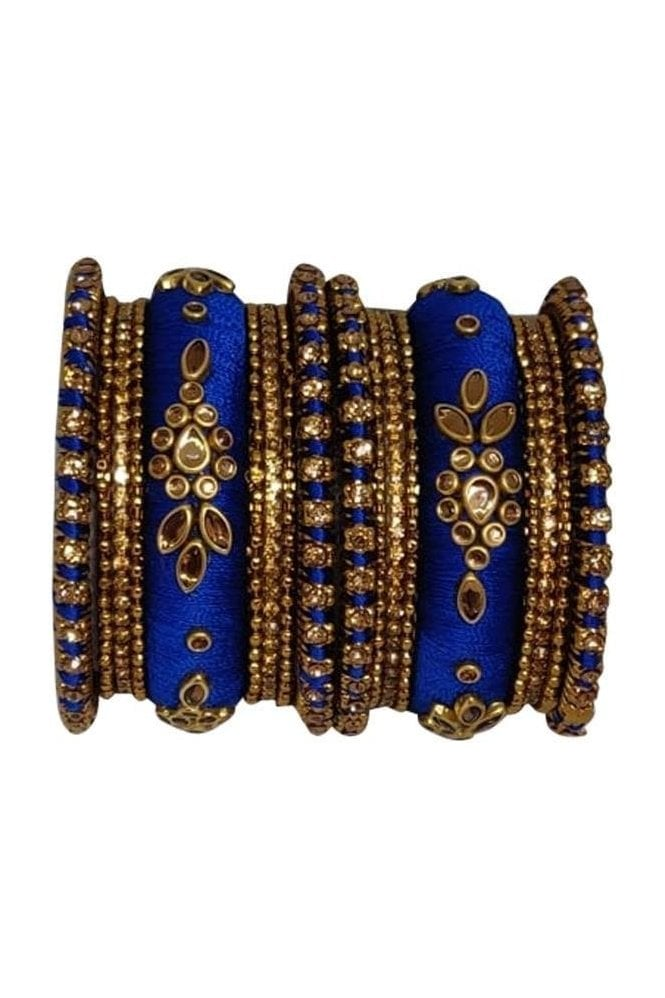 BAK1064-12 Royal Blue and Golden Set of 18 Thread and Stone Girl's Bangles