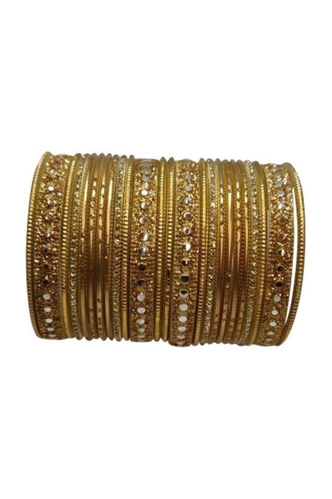 BAKBB-02 Gold and Golden Set of 24 Classic Glitter Girl's Bangles