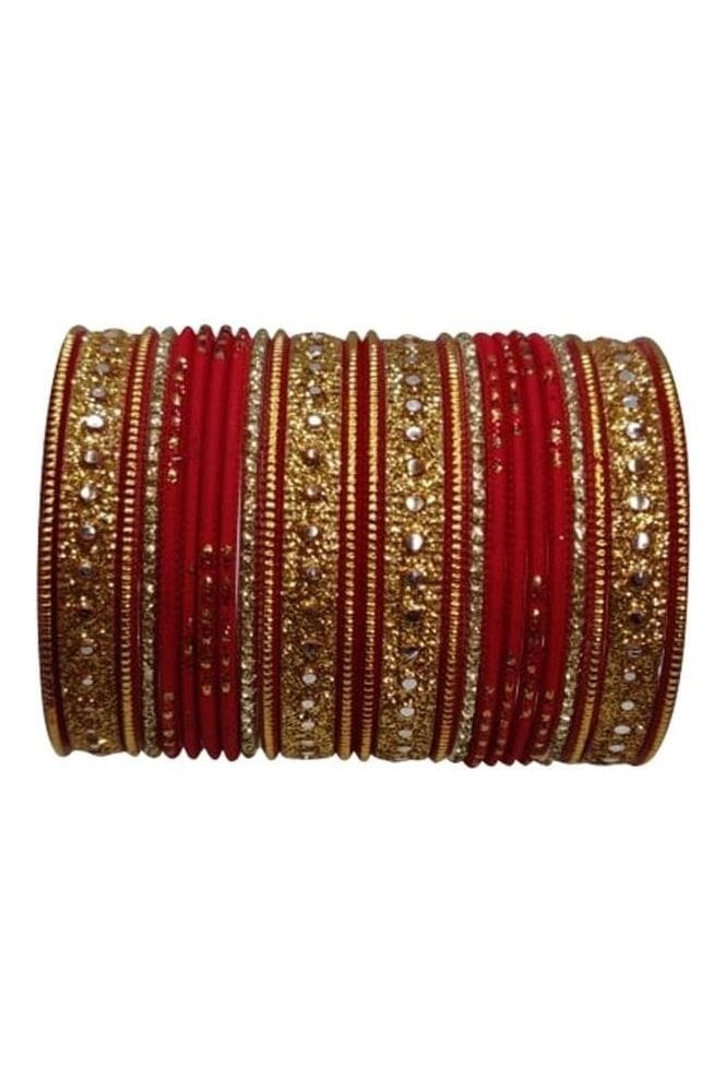 BAKBB-19 Red and Golden Set of 24 Classic Glitter Girl's Bangles