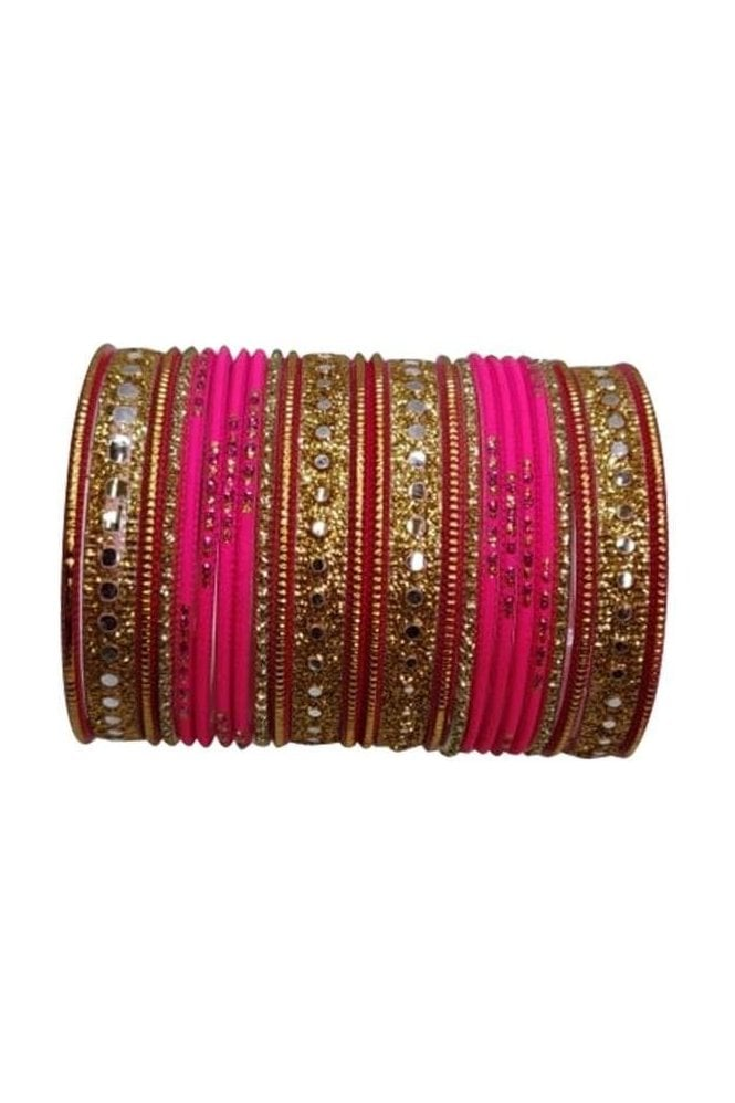 BAKBB-21 Pink and Golden Set of 24 Classic Glitter Girl's Bangles