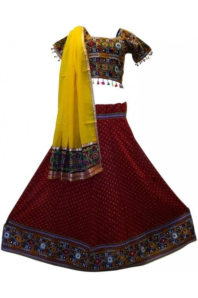 Krishna Sarees WCC19027 Stunning Red and Yellow Designer Navratri Special Chaniya Choli Lengha