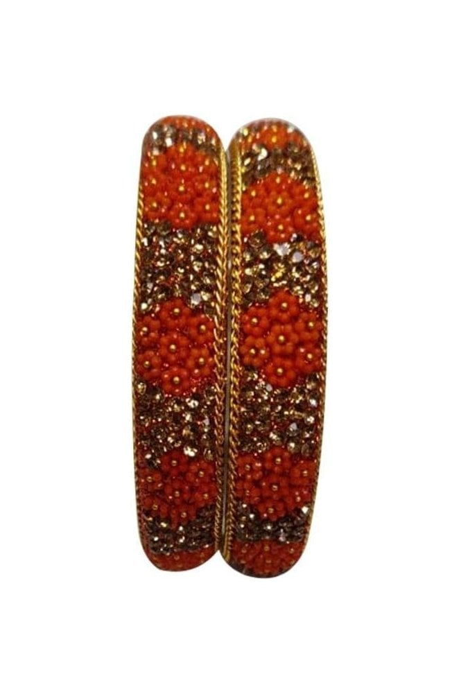 BAN50-03 Orange and Antique Gold Floral and Bead Womens Bangles