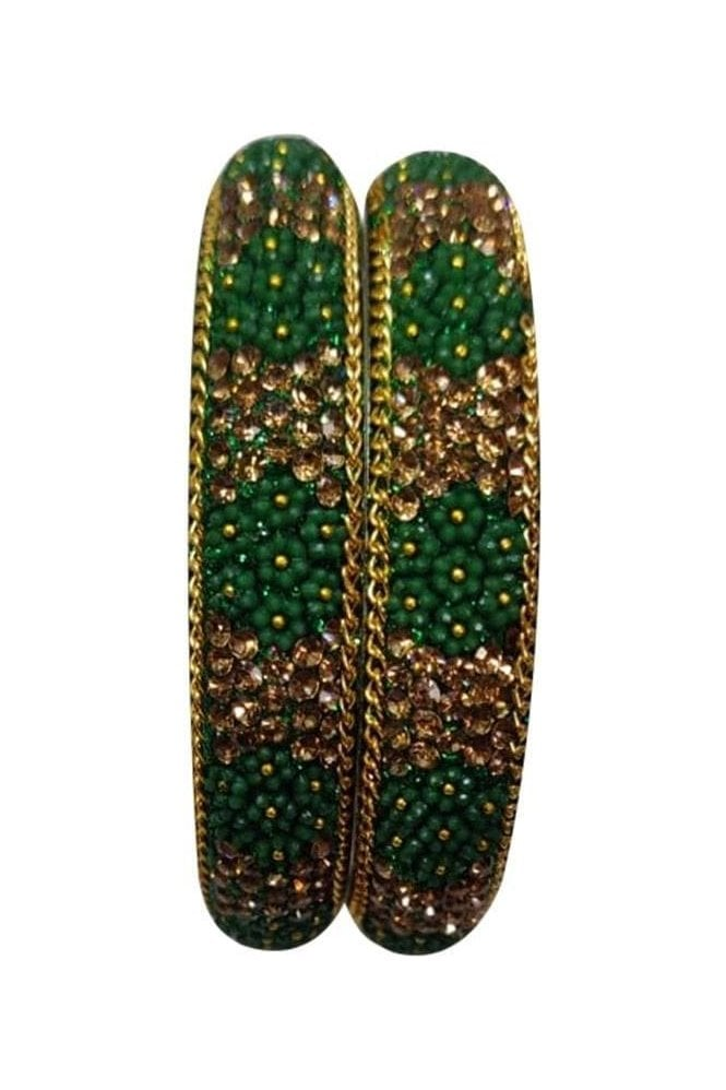 BAN50-04 Green and Antique Gold Floral and Bead Womens Bangles