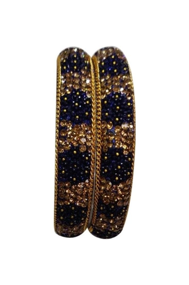 BAN50-06 Navy Blue and Antique Gold Floral and Bead Womens Bangles