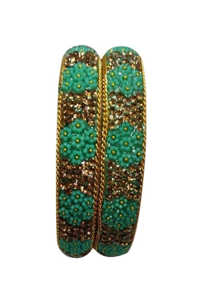 BAN50-08 Sea Green and Antique Gold Floral and Bead Womens Bangles
