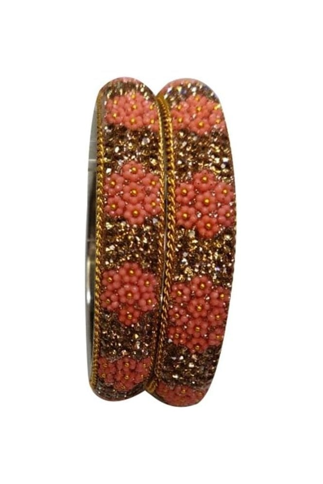 BAN50-10 Pink and Antique Gold Floral and Bead Womens Bangles