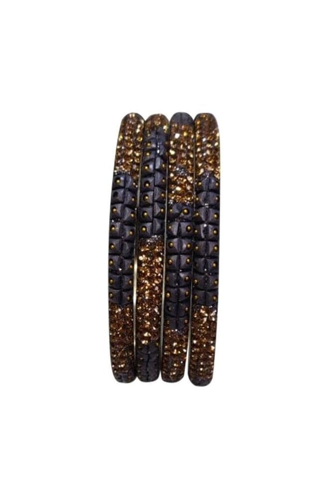 BAN521-04 Grey and Antique Gold Stone, Bead and Glitter Womens Bangles