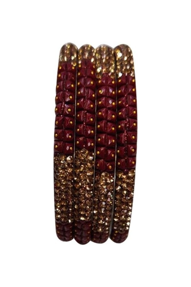 BAN521-10 Maroon and Antique Gold Stone, Bead and Glitter Womens Bangles