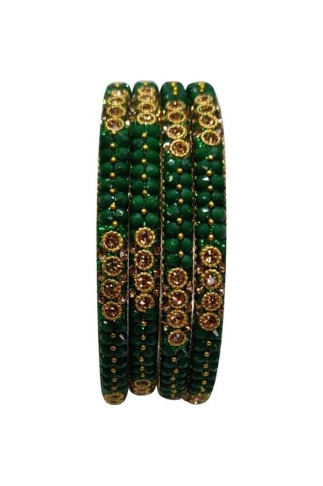 BAN813-01 Green and Antique Gold Stone, Bead and Glitter Womens Bangles