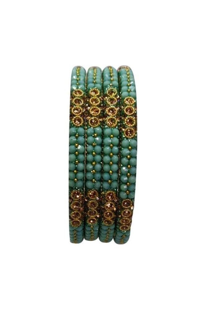 BAN813-04 Sea Green and Antique Gold Stone, Bead and Glitter Womens Bangles