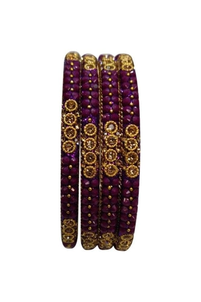 BAN813-05 Purple and Antique Gold Stone, Bead and Glitter Womens Bangles